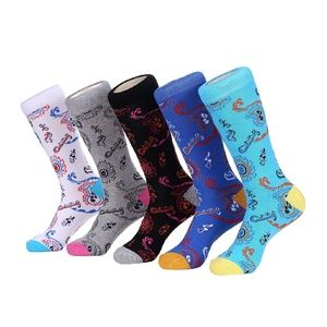 Mens Paisley Print Cotton Crew Dress Socks 5pk